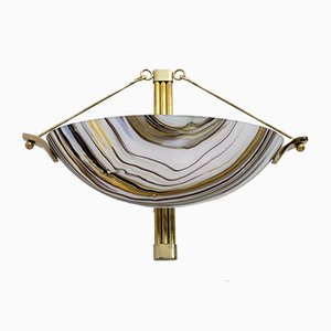 Modern Wall Lamp in Murano Glass, Chalcedony and Brass, Italy, 1980s