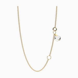 Minimalist Dainty 18k Yellow Gold Chain Necklace with Small Natural Rock Crystal Charm by Rebecca Li