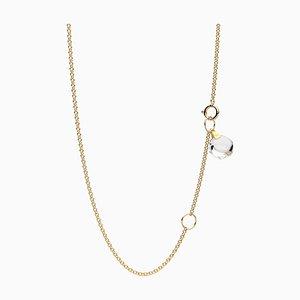 Minimalistische Zierliche 18 Karat Gelbgold Halskette mit Kleinen Natürlichen Bergkristall Anhänger von Rebecca Li