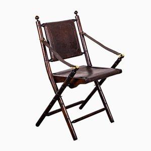 Sedia pieghevole in mogano, simil bambù, pelle e ottone, anni '60