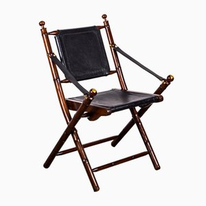 Folding Chair in Mahogany, Faux Bamboo, Leather and Brass, 1960s