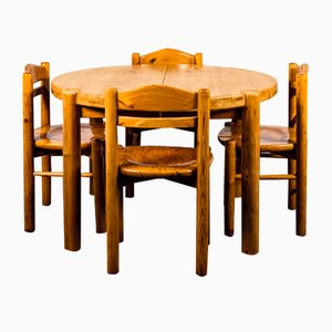 Dining Table & Chairs Set in the Style of Rainer Daumiller, 1970s, Set of 5