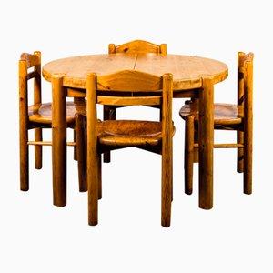 Esstisch & Stühle Set im Stil von Rainer Daumiller, 1970er, 5er Set