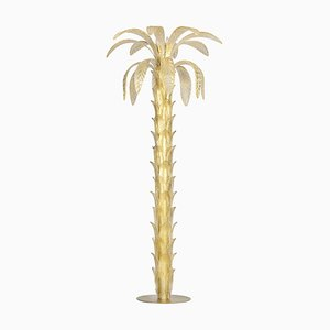 Lampada da terra in vetro di Murano e palma dorata nello stile di Napoleone Martinuzzi