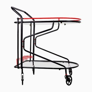 Black and Red Bar Cart in the Style of Yrjo Kukkapuro for Avarte, 1980s