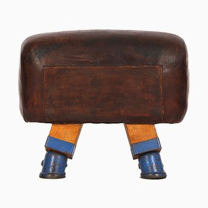 Vintage Leder Voltigierpferd oder Hocker, 1930er