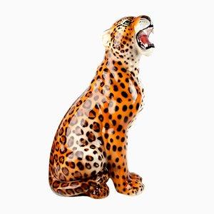 Mid-Century Modern Italian Ceramic Sculpture of a Seated Leopard, 1970s