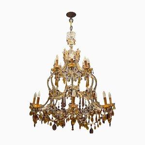 Großer mehrfarbiger Kronleuchter aus Muranoglas mit 16 Leuchten, 1950er