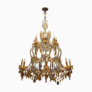 Large Multicolored Murano Glass Crystal Chandelier with 16 Lights, 1950s