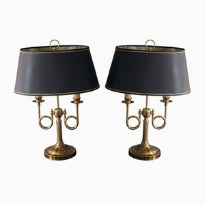 Vintage Brass and Tole Bouillotte Lamps, France, 1960s, Set of 2