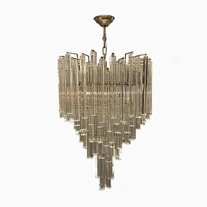Large Murano Glass Prism Chandelier by Paolo Venini