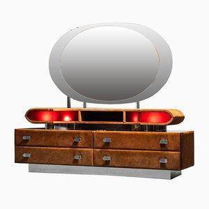 Wooden Alcantara Dresser with Mirror, 1970s