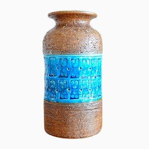 Rinary Blue Ceramic Vase by Aldo Londi for Bitossi, 1960s