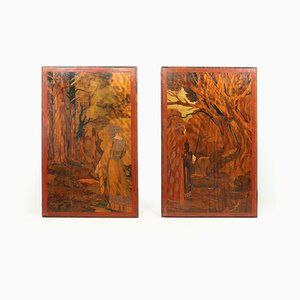 Impresiones Folk Art modernistas, década de 1900. Juego de 2