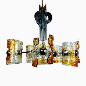 Lampadario Mid-Century in vetro di Murano ambrato e metallo cromato di Toni Zuccheri per Mazzega, Italia, anni '70