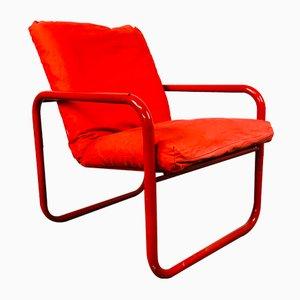 Vintage Red Tubular Chrome Chair, Denmark
