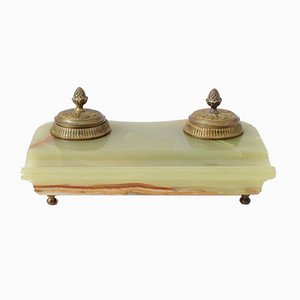 Antique French Ormolu and Green Onyx Desk Set
