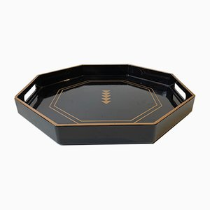 Vintage Japanese Octagonal Black Lacquer Tray