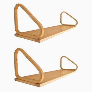 Vintage 112a Birch Plywood Bookshelves by Alvar Aalto for Artek, Set of 2
