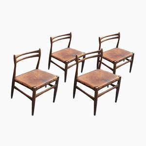 Scandinavian Leather and Wood Chairs, Set of 4