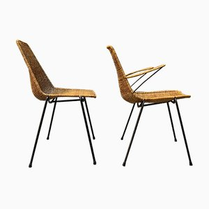 Korbgeflecht Stühle von Gianfranco Legler, 1960er, 4er Set