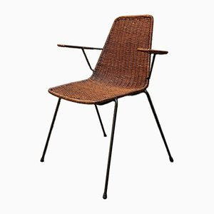 Wicker Chair with Armrests by Gian Franco Legler, 1960s
