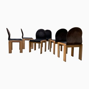 Dark Velvet Chairs by Tobia Scarpa, 1960s, Set of 6