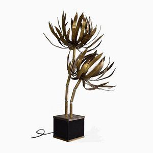 Hollywood Regency Brass Palm Tree Floor Lamp from Maison Jansen