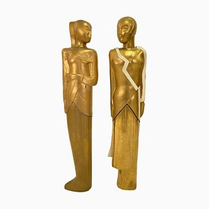 Art Deco Figures by Gustave Miklos, 1888-1967, France, 1930s, Set of 2