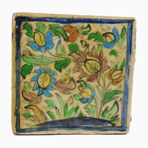 Antique Middle Eastern Qajar Dynasty Pottery Tile, 19th-Century