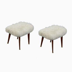 Italian Tibetan Wool Stools, Set of 2
