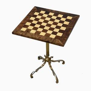 Goatskin Chess Table with Gilt Base by Aldo Tura