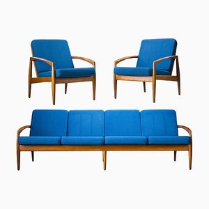 Model 121 Paper Knife Easy Chairs and Sofa by Kai Kristiansen for Magnus Olesen, 1960s, Set of 3