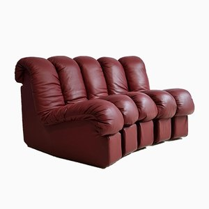 DS600 Bordeaux Leather Sofa by Ueli Berger from de Sede, 1970s, Set of 5