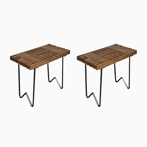 Mid-Century Italian Wood and Metal Stools by Charlotte Perriand, 1950s, Set of 2