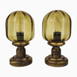 Vintage Glass and Brass Bedside Table Lamps from N Leuchten, 1970s, Set of 2
