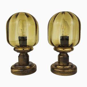 Vintage Nachttischlampen aus Glas & Messing von N Leuchten, 1970er, 2er Set