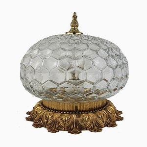 Mid-Century Art Nouveau Style Glass & Brass Flush Mount, 1960s