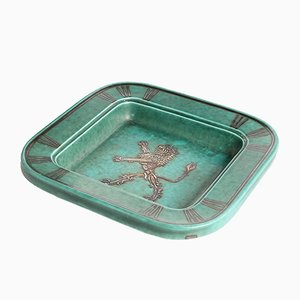 Vintage Argenta Plate in Glazed Ceramic by Wilhelm Koke for Gustavsberg
