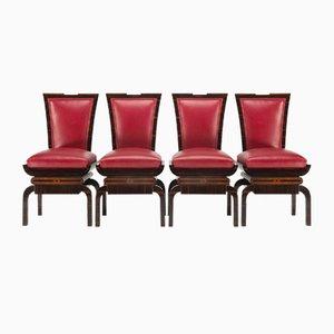 Art Deco Red Chairs in Macassar, Czechoslovakia, 1920s, Set of 4
