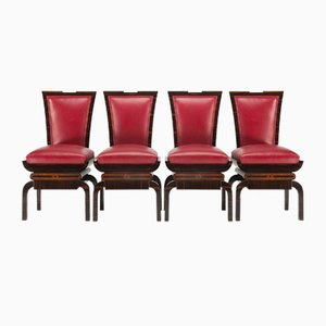 Rote Art Deco Stühle aus Makassar, Tschechoslowakei, 1920er, 4er Set