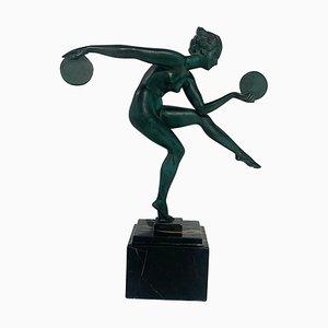 Art Deco Dancer Sculpture by Max Le Verrier for Derenne, France, 1930s