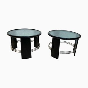 Art Deco Black Lacquered Nickel Side Tables, France, 1930s, Set of 2