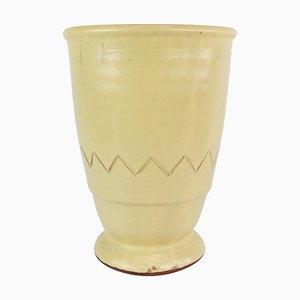 Keramikvase mit hellem Glasur und einfachem Muster, 1960er