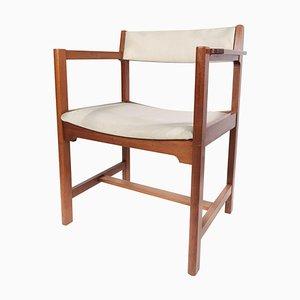 Danish Mahogany and Light Fabric Armchair from Søborg, 1960s