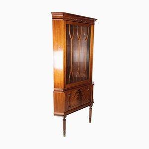 Hepplewhite Corner Cabinet in Mahogany with Glass Door, 1920s