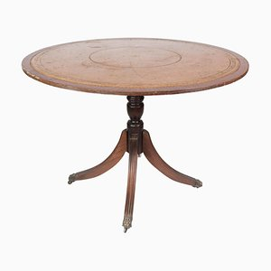 Antique Dining Table in Mahogany with Inlaid Wood and Leather, 1920s
