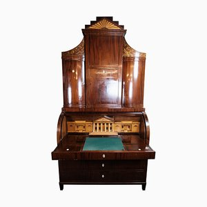 Large Empire Bureau in Mahogany with Inlaid Wood, 1820s