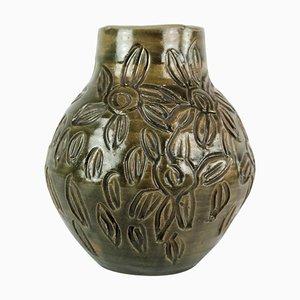 Danish Ceramic Vase with Dark Glaze, 1960s
