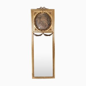 Tall Mirror in Gilded Wood with Engravings,1820s